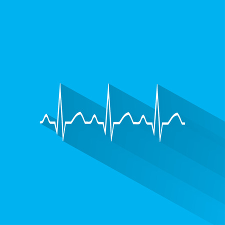 heart ecg trace: Electrocardiogram, ecg or ekg - medical icon.vector