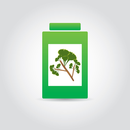 Medicine Bottle With gingo picture.vector Vector