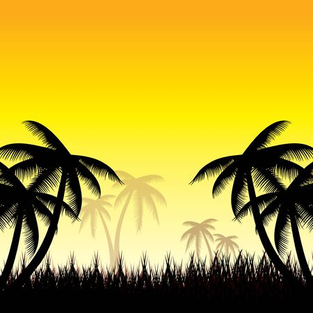 whit: Summer background whit palm trees.vector