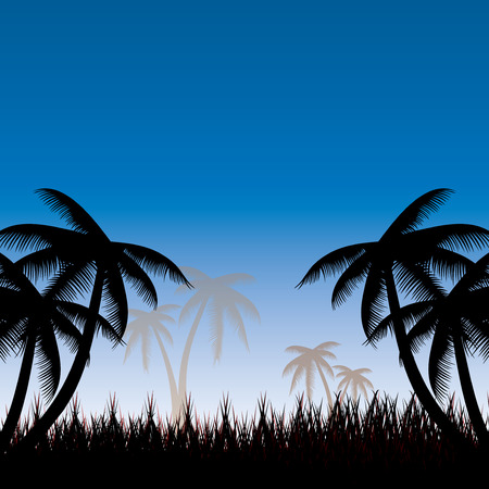 temperate: Summer background whit palm trees.vector