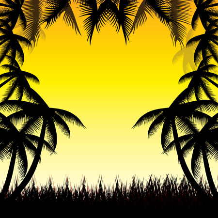 guam: Summer background whit palm trees.vector