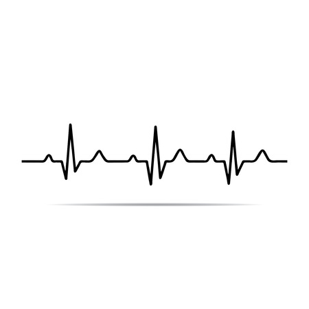 Illustration heart rhythm ekg . Vectores