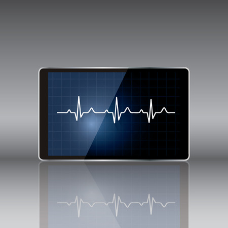 diagnosis: Tablet computer with  medical concept .vector