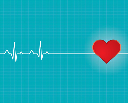 stress test: Red heart with ekg  - medical design.vector