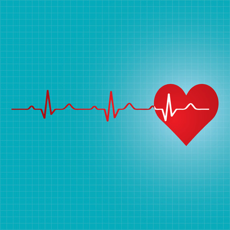 cardiograph: Red heart with ekg - medical design.vector Illustration