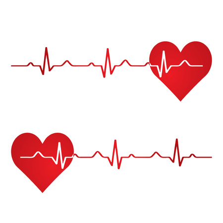 cardiograph: Red heart with ekg on white - medical design.vector Illustration