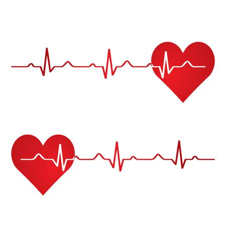 rhythm: Red heart with ekg on white - medical design.vector Illustration