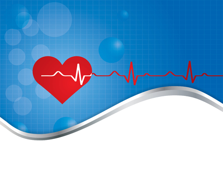 cardiograph: Red heart with ekg  - medical design.vector