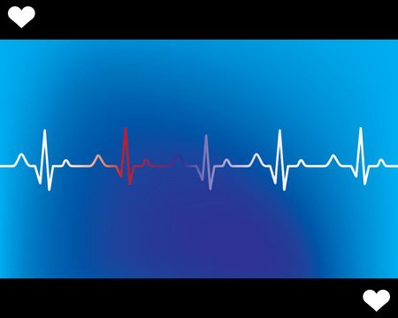 heartbeat line: Abstract heart beats cardiogram illustration - vector
