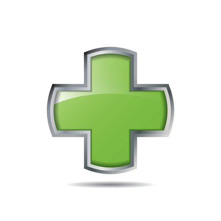 medical cross: Medical cross line icon Illustration