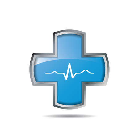 Cross with heart and ekg line.vector Illustration