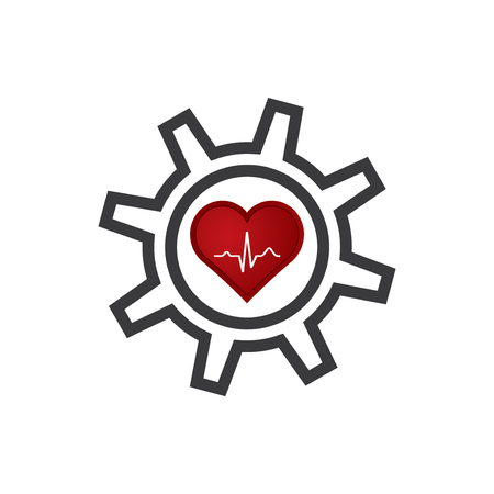 Heart with ekg and gear icon.vector