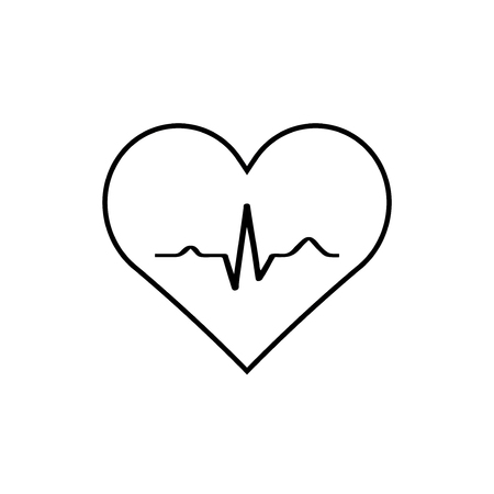Heart with EKG signal.vector.EPS10 Illustration