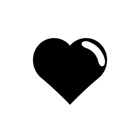 Black heart on white background.vector