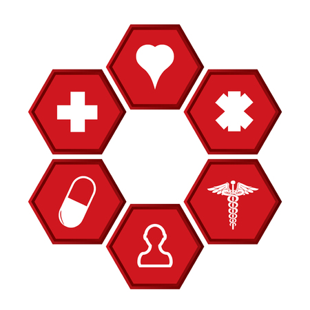 Health tech background with medical icons. Vector Illustration