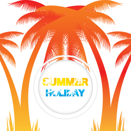 Abstract summer background with orange coconut trees.