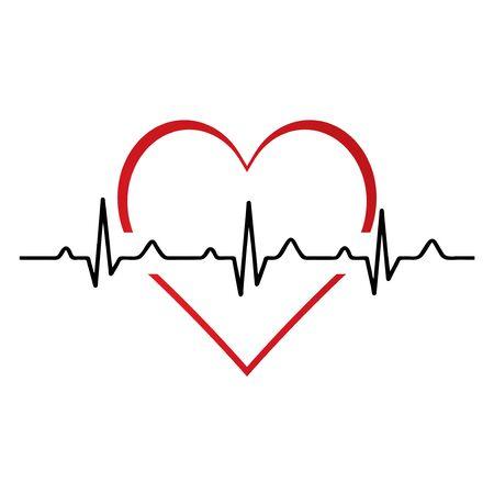 Icona piana di battito cardiaco / battito cardiaco per applicazioni e siti Web medici.