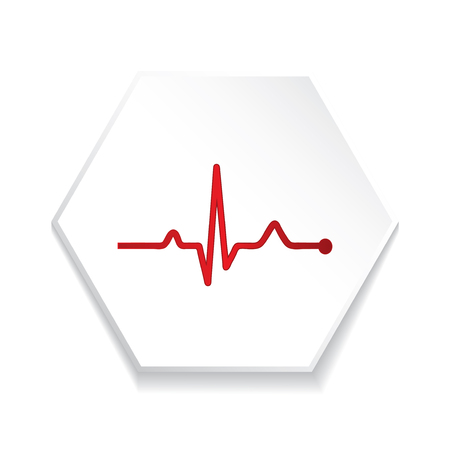 Heartbeat  heart beat pulse flat icon for medical apps and websites. Çizim