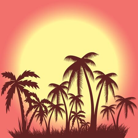 Abstract summer palm tree background.vector eps10