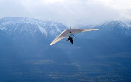 bc: Hang Glider flying from Mt 7, (Golden, BC - Rocky Mountains)