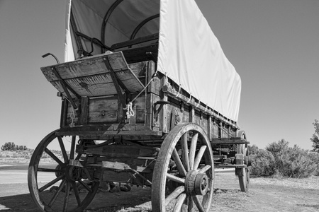 wagons: Covered wagon along the Oregon Trail in Idaho Stock Photo