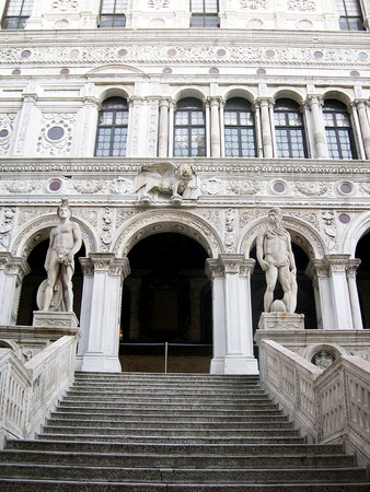 clock of the moors: The Staircase of the Giants in the Doges Palace in Venice Italy Editorial