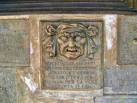 clock of the moors: Letterbox where you could report your neighbours to the Doge in Venice Italy