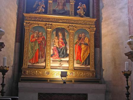 clock of the moors: Altar in Church in Venice Italy