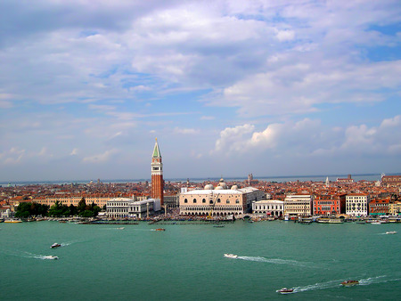 clock of the moors: approaching Venice in the lagoon in Italy