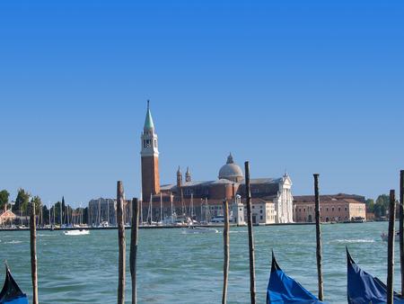 gondoliers: San Giorgio Island off Venice Italy