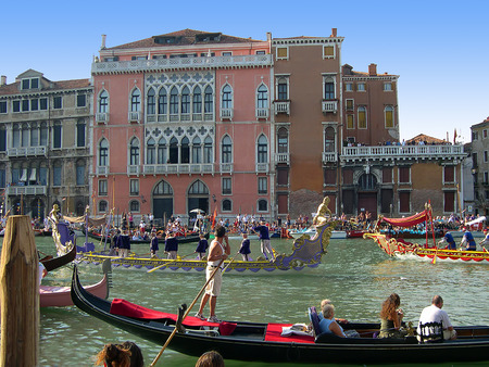 doge's palace: THe Regatta on the Grand Canal in Venice Italy Editorial