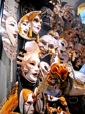 clock of the moors: Carnival Masks in Venice Italy