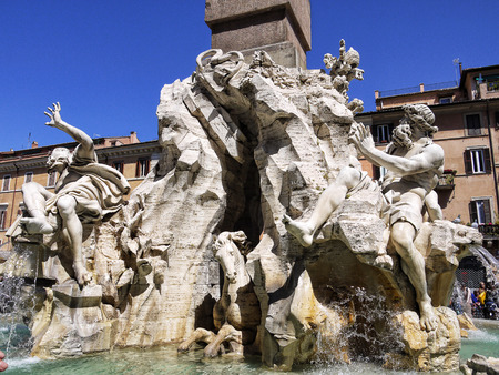 The Piazza Navona with its Fountains by Bernini and Della Porta in Rome Italy Editorial