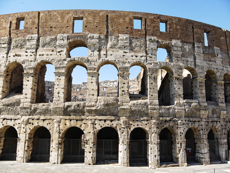 The Colosseum was the Flavian Amphitheatre built by Vespasian in what was the lake of Nero's Golden House is the most famous monument in Rome Editorial
