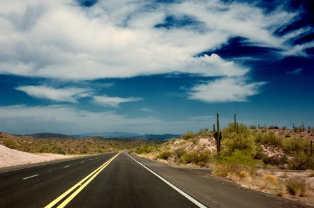 lonesome: arizona highway 2 Stock Photo