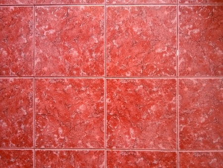 bathroom wall: red bathroom wall tiles with white pattern