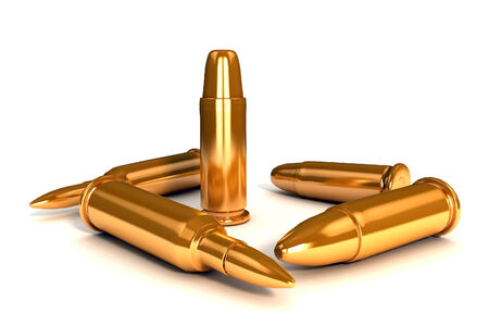 3d glossy and shinny bullets photo
