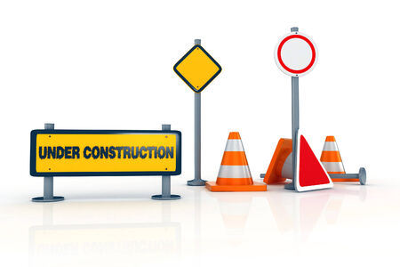 road works: 3d road signs and warnings