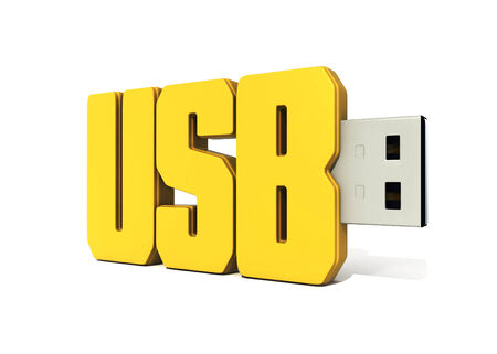 yellow usb flash memory made of word - usb photo