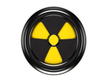 3d biohazard sign on black can cover isolated on white photo