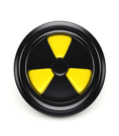 toxicology: 3d biohazard sign on black can cover