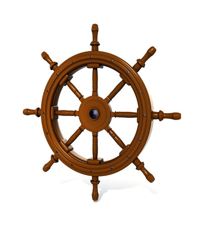 3d render of ship steering wheel isolated on white background photo
