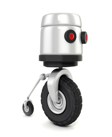 3d shinny and glossy robot on wheels isolated on white photo