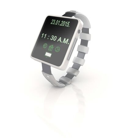 shinny: 3d shinny and glossy smart watch render on white background Stock Photo