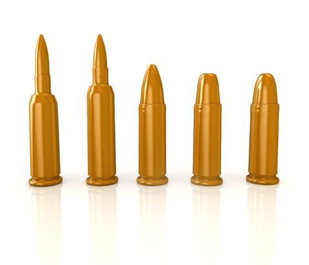 ricochet: 3d shiny and glossy bullets isolated on white background
