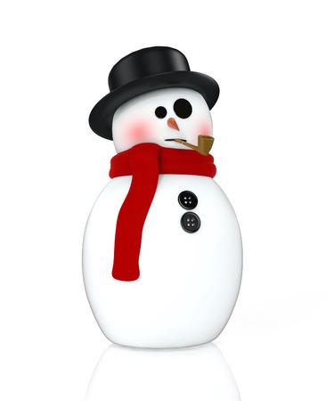 3d snowman render on white background photo