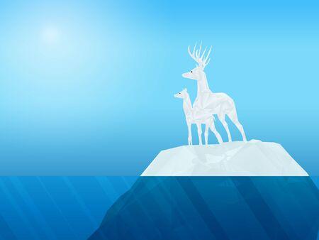 deer on iceberg