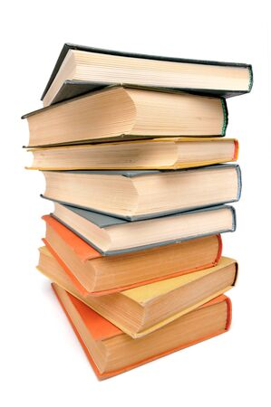 Stack of old books, white background, wide-angle shot Stock Photo - 8101047