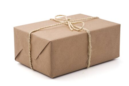 Brown parcel, isolated, white background