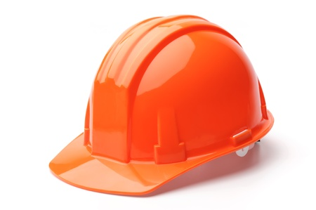home safety: Hard hat, isolated on white background Stock Photo